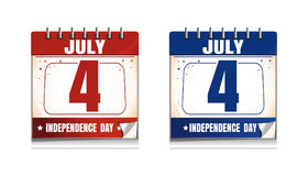4th of July calendar icon set. US Independence Day. Calendar collection. Festive date in the calendar. Vector illustration stock illustration