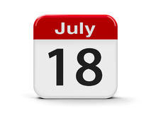 18th July. Calendar web button - The Eighteenth of July - Nelson Mandela International Day, three-dimensional rendering, 3D illustration Royalty Free Stock Image