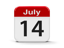 14th July. Calendar web button - The Fourteenth of July - The Bastille Day , three-dimensional rendering, 3D illustration royalty free illustration