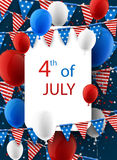 4th July card with balloons. USA Independence Day card with flags, stars and balloons. Vector illustration Stock Image