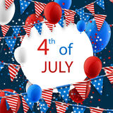 4th July card with balloons. USA Independence Day card with flags, stars and balloons. Vector illustration Stock Images