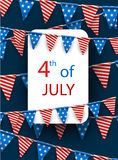 4th July card with flags. Blue USA Independence Day card with American flags. Vector paper illustration Royalty Free Stock Photography
