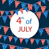 4th July card with flags. Blue USA Independence Day card with American flags. Vector paper illustration Royalty Free Stock Images