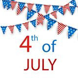 4th July card with flags. USA Independence Day card with American flags. Vector paper illustration Royalty Free Stock Photos