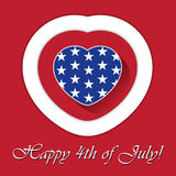 4th of july card with heart and contours. Independent Day greeting card with blue heart and white stars and red - white contours Royalty Free Stock Images