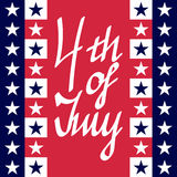 4th of July Card. Red Greeting Card on July 4 with stars Royalty Free Stock Photography