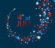 4th July card with stars. Blue Independence Day card with whirl of stars. Vector paper illustration Royalty Free Stock Photo