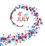 4th July card with stars. White Independence Day card with spiral of stars. Vector paper illustration Stock Photography