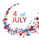 4th July card with stars. White Independence Day card with whirl of stars. Vector paper illustration Stock Photos
