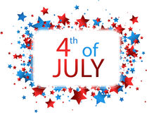4th July card with stars. White USA Independence Day card with colorful stars. Vector paper illustration Royalty Free Stock Photo