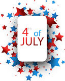 4th July card with stars. White USA Independence Day card with colorful stars. Vector paper illustration Stock Photos