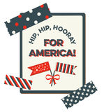 4th of July card. USA Patriotic Independence Day template with vintage style. It reads Hip, Hip, Hooray for America!. It has to flags with a bow and washi tapes Royalty Free Stock Photo