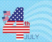 4th july card. Vector for celebration on 4th july of america, design from number 4 in america flag style and decoration with flag and white line wave on light Royalty Free Stock Photo