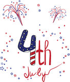 4th July. 4th of July card for your designs Stock Photography