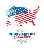 4th July Celebration with Abstract Style USA Country Map Background. 4th July USA Independence Day Celebration Background with Abstract USA Country Map vector illustration