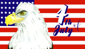 4th of July celebration. Background with bald eagle Stock Photo
