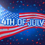 4th of july celebration background with confetti. Vector Stock Photo