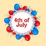 4th of July celebration background. 4th of July celebration background decorated with American Flag color balloons, stars and confetti Royalty Free Stock Photos