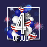 4TH of July Celebration Background Design. With Balloon and Fireworks. American Independence Day Square Banner. Vector illustration Stock Photo