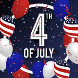 4TH of July Celebration Background Design. With Balloon and Ribbons. American Independence Day Square Banner. Vector illustration Stock Image