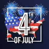 4TH of July Celebration Background Design. With USA Map and Fireworks. American Independence Day Square Banner. Vector illustration Stock Photography