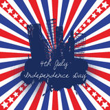 4th of July celebration background. Over american flag Stock Illustration