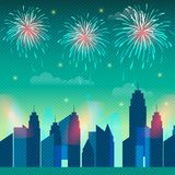 New York city skyline for 4th of July. 4th of July celebration background with view of New York city skyline and fireworks explosion Royalty Free Stock Photography