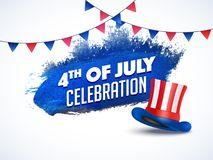 4th of July Celebration concept with hat in American Flag color. With bunting flags on white background Royalty Free Stock Images
