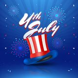 4th of July celebration concept with Hat in American Flag Colors. On Fireworks blue background Royalty Free Stock Photos