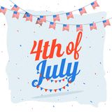 4th of July celebration concept with stylish text and bunting fl. Ags Royalty Free Stock Photo