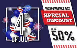 4TH of July Celebration Discount Promotion Background. Design with Balloon and Fireworks. American Independence Day Sale Promotion Banner. Vector illustration Stock Photo