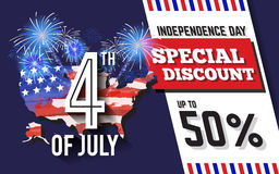 4TH of July Celebration Discount Promotion Background. Design with USA Map and Fireworks. American Independence Day Sale Promotion Banner. Vector illustration Royalty Free Stock Photography