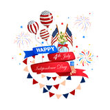 4th of July celebration for Happy Independence Day of America. Vector illustration of 4th of July celebration for Happy Independence Day of America royalty free illustration
