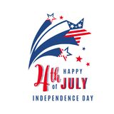 4th of July celebration holiday banner with shooting stars. USA Independence Day poster for greeting, sale concept. Design. Isolated on white. Vector Royalty Free Stock Images