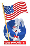 4th of July. Celebration of the Independence Day. A rabbit holding an American flag congratulates you. Cartoon styled vector illustration. Elements is grouped royalty free illustration