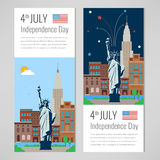 4th of July celebration. New York city for Independence Day of America. Vector. Illustration Royalty Free Stock Photo