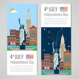 4th of July celebration. New York city for Independence Day of America. Vector. Illustration Royalty Free Stock Images