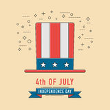 4th of July celebration patriotichat icon. American Independence. Day, Line icon Style. Vector illustration stock illustration