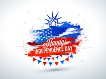 4th of July, celebration poster design with Statue of Liberty on. Grungy background vector illustration