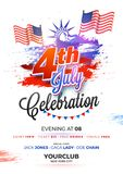 4th of July, celebration poster design with Statue of Liberty, w. Aving flags, on grungy background Stock Photos