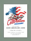 4th of July celebration Template, Banner or Flyer. 4th of July, Independence Day celebration Template, Banner or Flyer design with waving flag royalty free illustration
