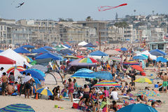 4th July 2015 celebrations on the beach in Venice, California. American took to the beach to celebrate Independence Day in Los Angeles. Pictured a crowded Stock Photo