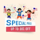 4th of July, celebrations sales discount offer flyer design. 4th of July, celebrations sales discount offer flyer design, with happy kids holding flags Stock Photo