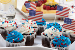 4th of July Chocolate Cupcakes Royalty Free Stock Images