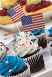 4th of July Chocolate Cupcakes Royalty Free Stock Image