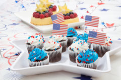 4th of July Chocolate Cupcakes Royalty Free Stock Photo