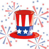 4th of July. A colored american hat with some fireworks in the background vector illustration