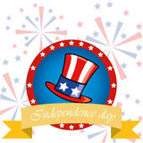 4th of July. A colored hat with some stars and a ribbon within an icon in a background with fireworks stock illustration