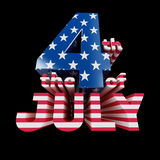 The 4th of July cool 3d text render ( on b Royalty Free Stock Photos