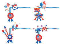 4TH July Corners. 4TH July themed corner shaped design elements. 1/2 Stock Photo